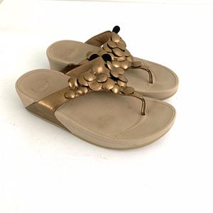 FitFlop Bronze Gold Floral Wedge Sandals